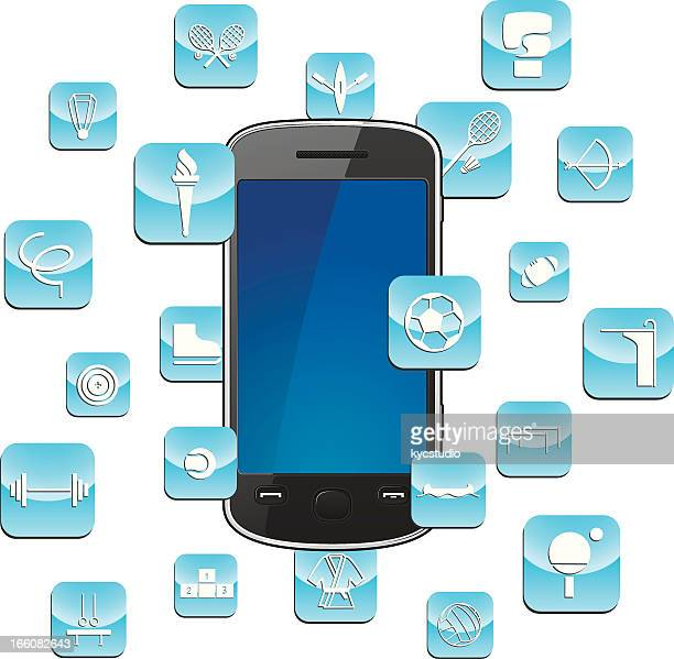 smartphone with sports app icons - sport torch stock illustrations, clip art, cartoons, & icons