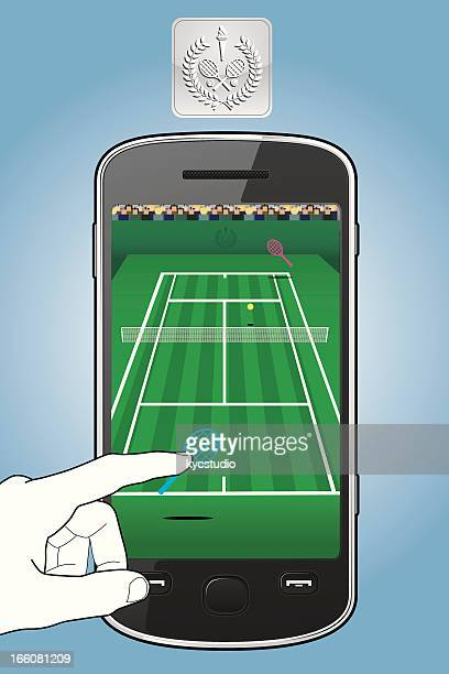 smartphone with tennis game - match point scoring stock illustrations