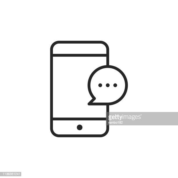 smartphone with text message bubble line icon. editable stroke. pixel perfect. for mobile and web. - text stock illustrations