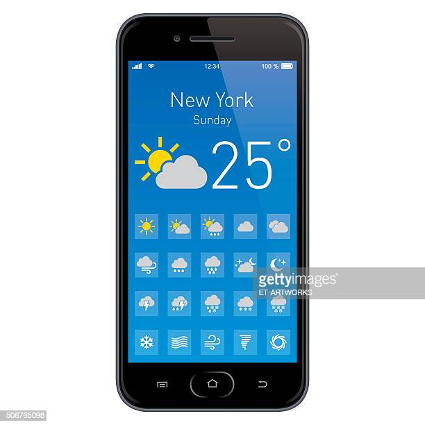 smartphone with weather app. - condition stock illustrations