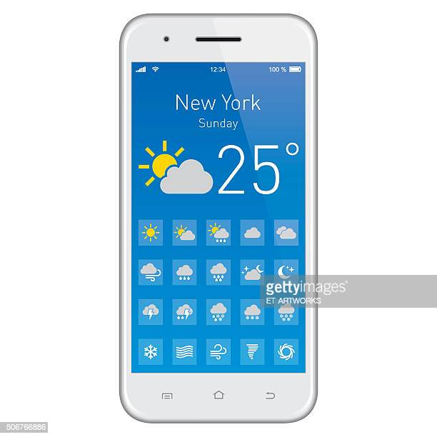 smartphone with weather app. - hurricane stock illustrations, clip art, cartoons, & icons