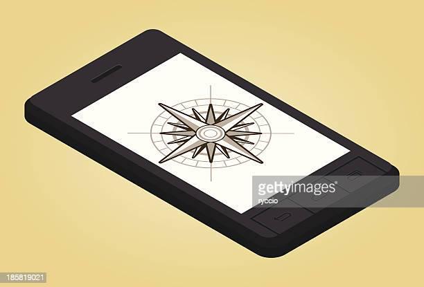 スマートフォンでウィンドローズ - 円形方位図点のイラスト素材/クリップアート素材/マンガ素材/アイコン素材