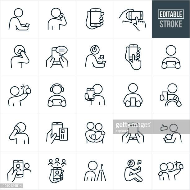 smartphones thin line icons - bearbeitbarer strich - berührungsbildschirm stock-grafiken, -clipart, -cartoons und -symbole