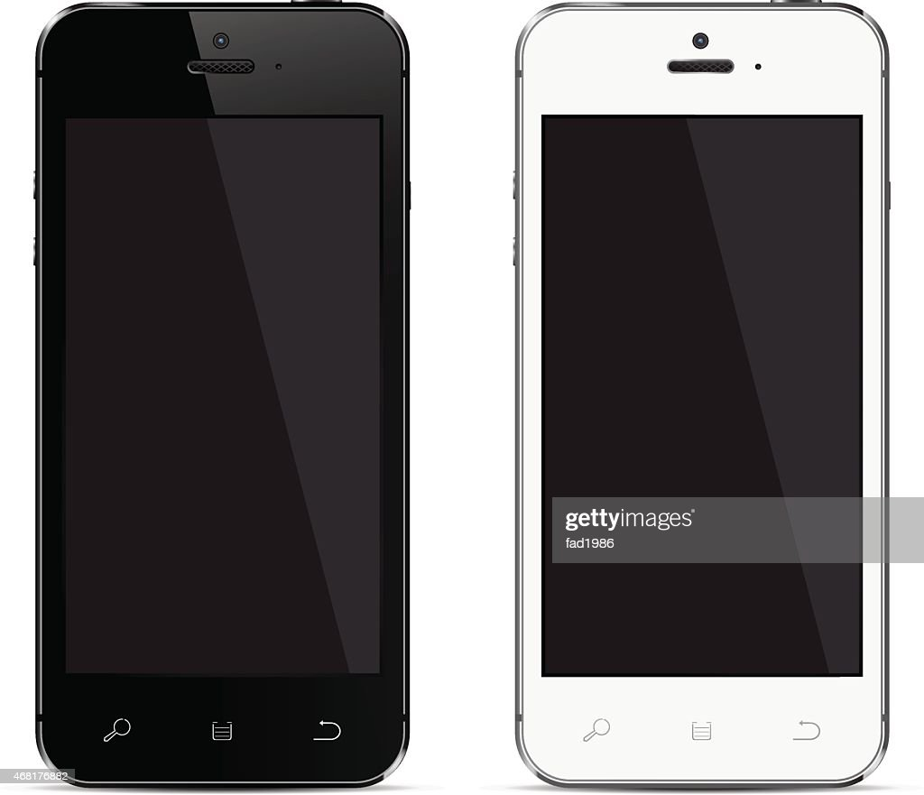 Smartphones vector mockup black and white