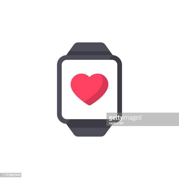 illustrazioni stock, clip art, cartoni animati e icone di tendenza di smartwatch, fitness tracker icona piatta. pixel perfetto. per dispositivi mobili e web. - scoprire nuovi terreni