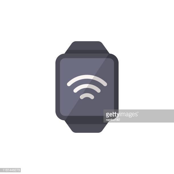 smartwatch flat icon. pixel perfect. for mobile and web. - smart watch stock illustrations