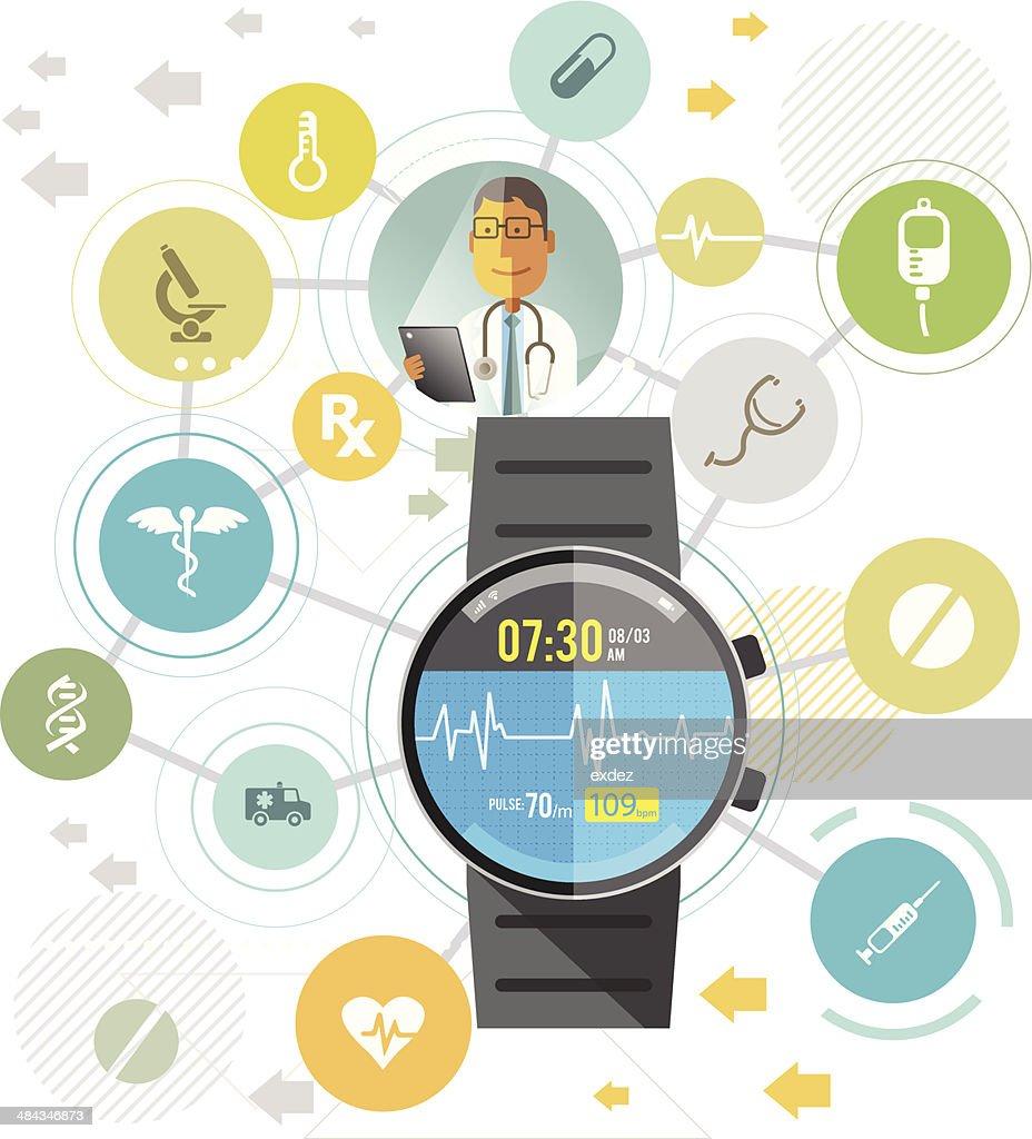 Smartwatch for healthcare : stock vector