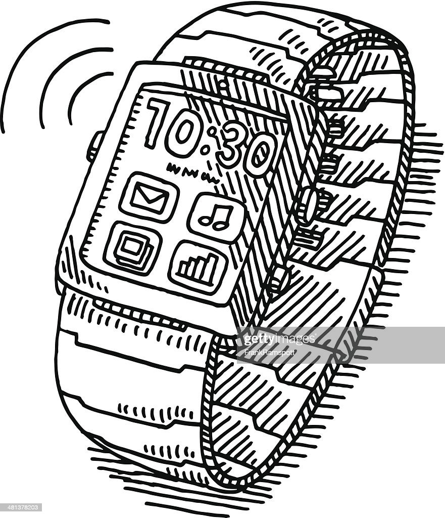 Smartwatch Wireless Technology Drawing : Vector Art