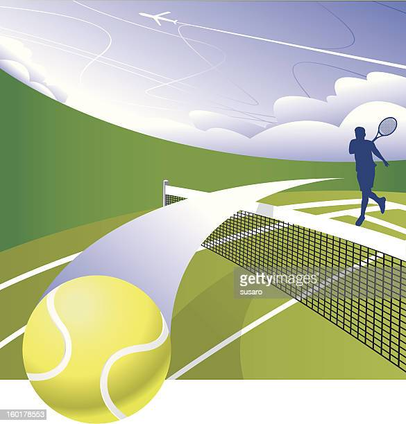 smash the court - tennis ball stock illustrations