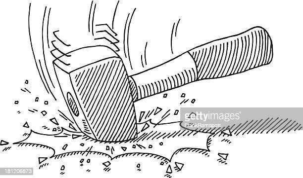Smashing Hammer Drawing