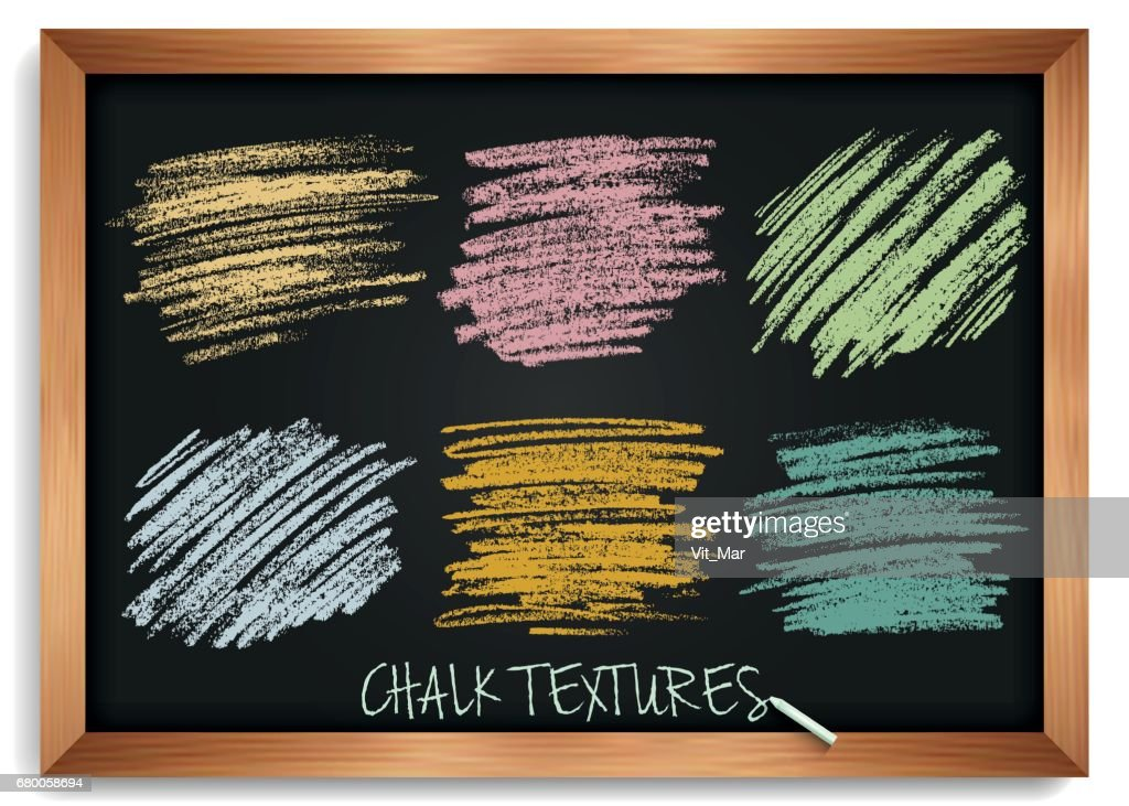 Smears are chalk. Vintage textures on a blackboard. High resolution image. Pastel shades of brushes. Template for registration of stickers, banners, posters. Stock vector.