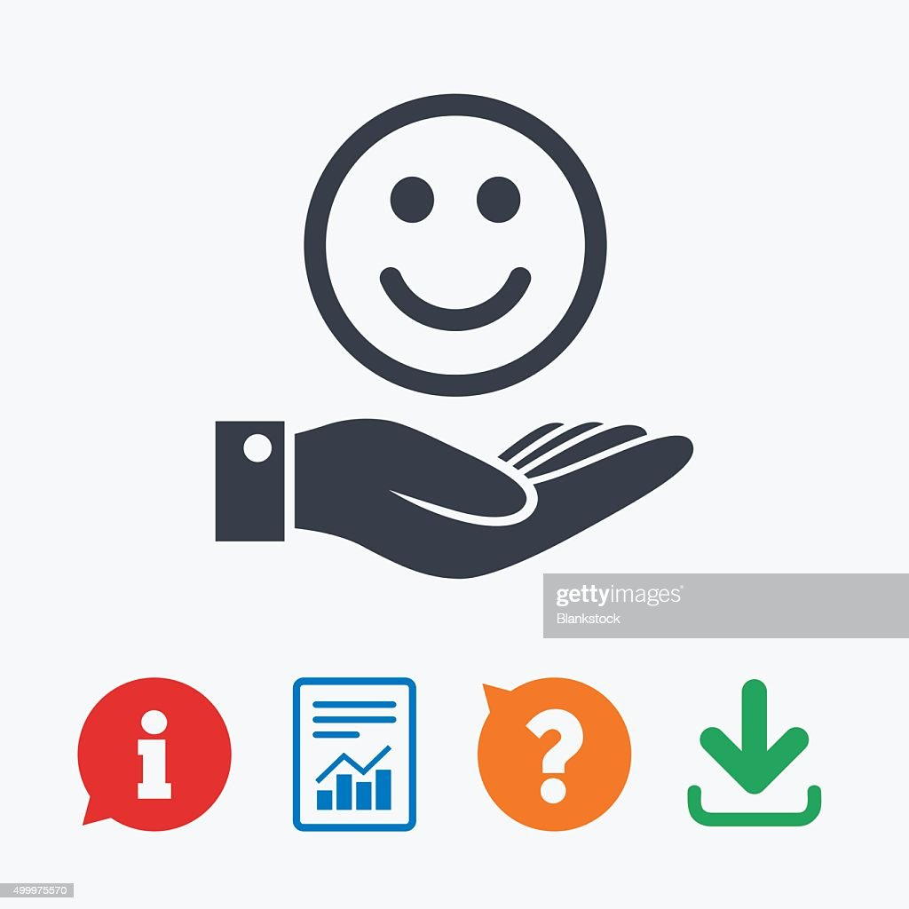 Smile And Hand Sign Palm Hold Happy Face Symbol Vector Art Getty