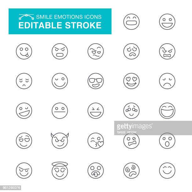 smile editable stroke icons - anger stock illustrations