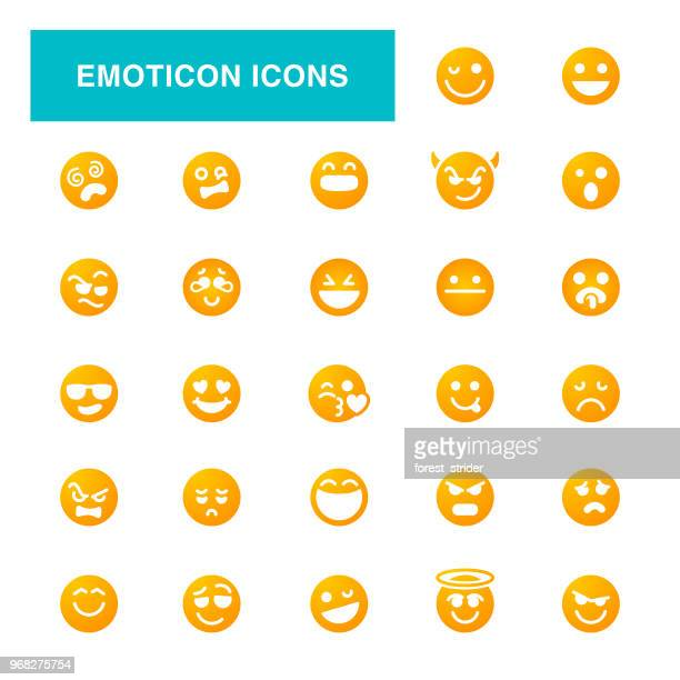 smile emoticon icons - good; times bad times stock illustrations