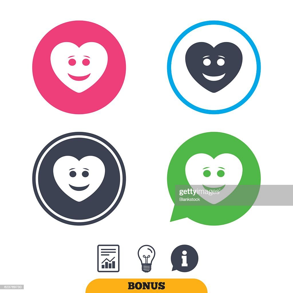 Smile Heart Face Icon Smiley Symbol Vector Art Getty Images