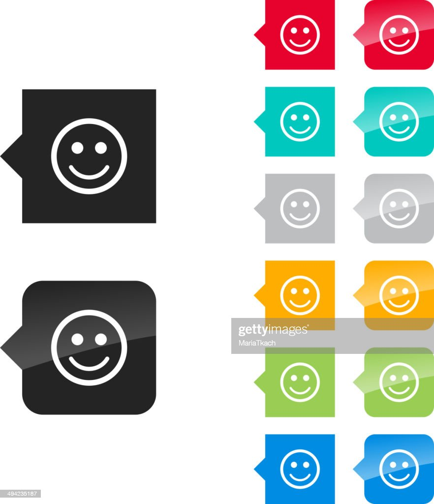 Smile icon for user interface - flat and glossy.