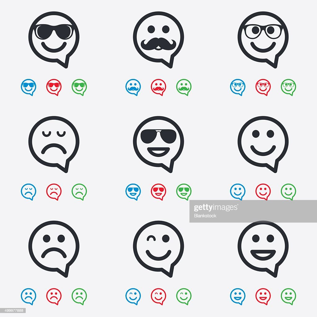 Smile icons. Sunglasses, mustache and laughing