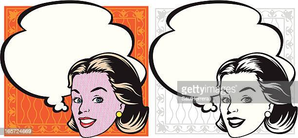 smile of woman in retro - commercial sign stock illustrations