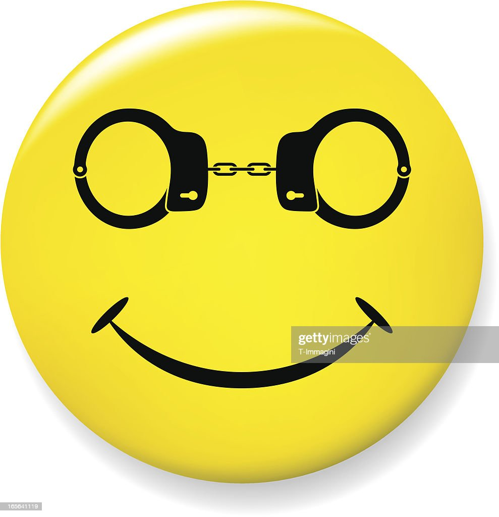 Smile pin with handcuffs glasses : stock vector