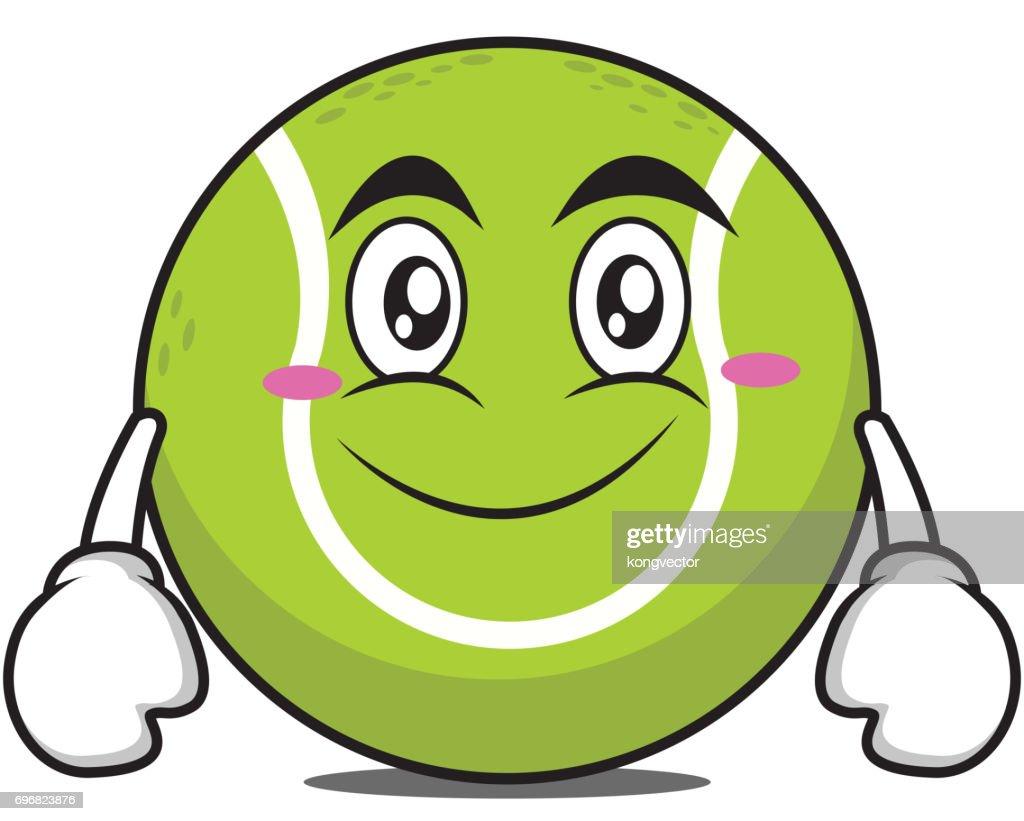 Smile tennis ball cartoon character vector illustration