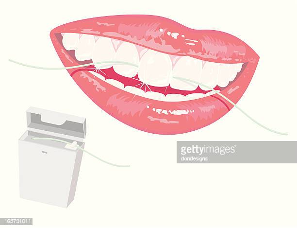 smile with dental floss - dental floss stock illustrations, clip art, cartoons, & icons