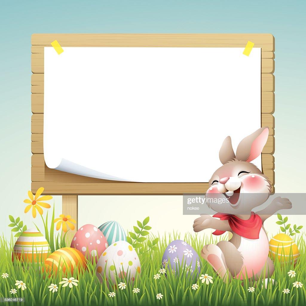 Smiley Bunny - Easter Billboard : Stock Illustration