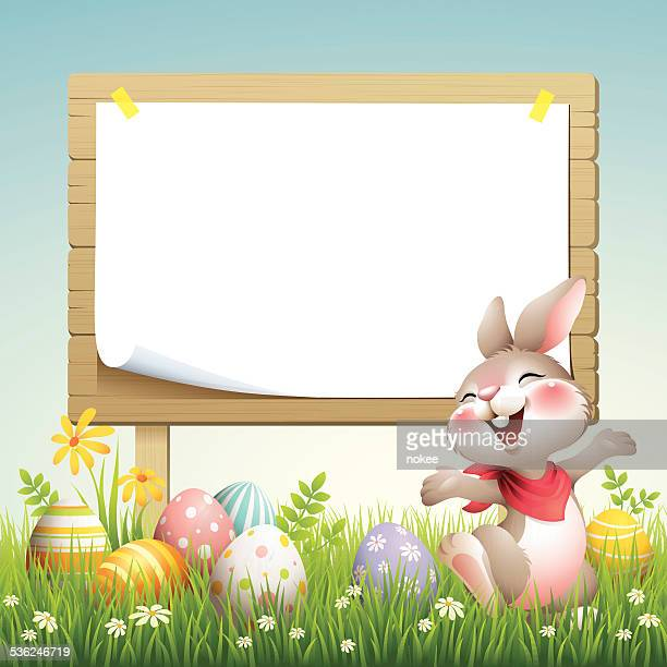 smiley bunny - easter billboard - easter bunny stock illustrations