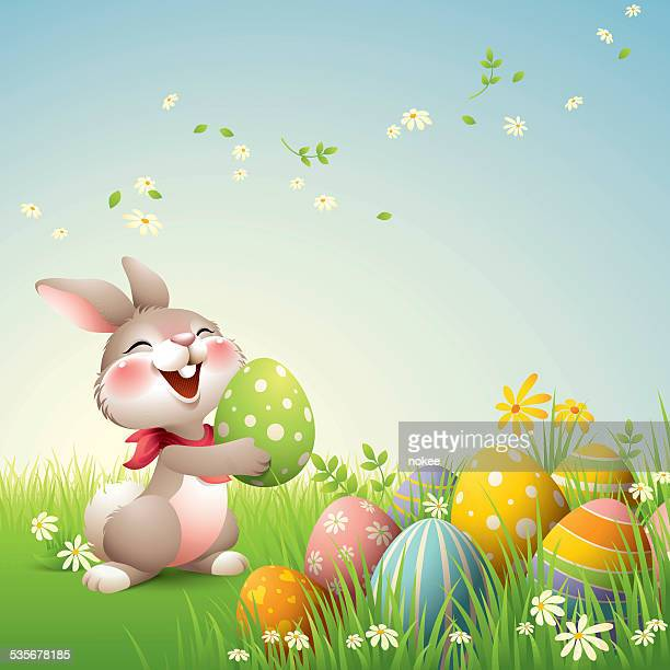 smiley bunny - easter - easter bunny stock illustrations