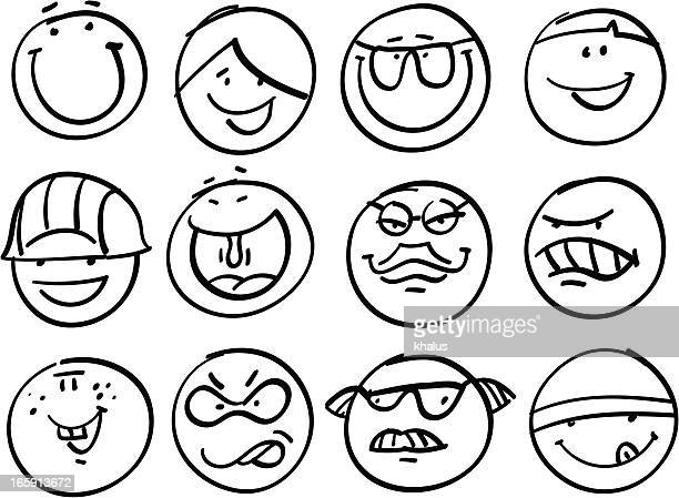 smiley collection | different faces - anthropomorphic stock illustrations, clip art, cartoons, & icons