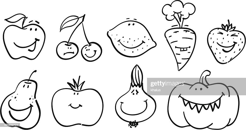 smiley collection fruits and vegetables vector art