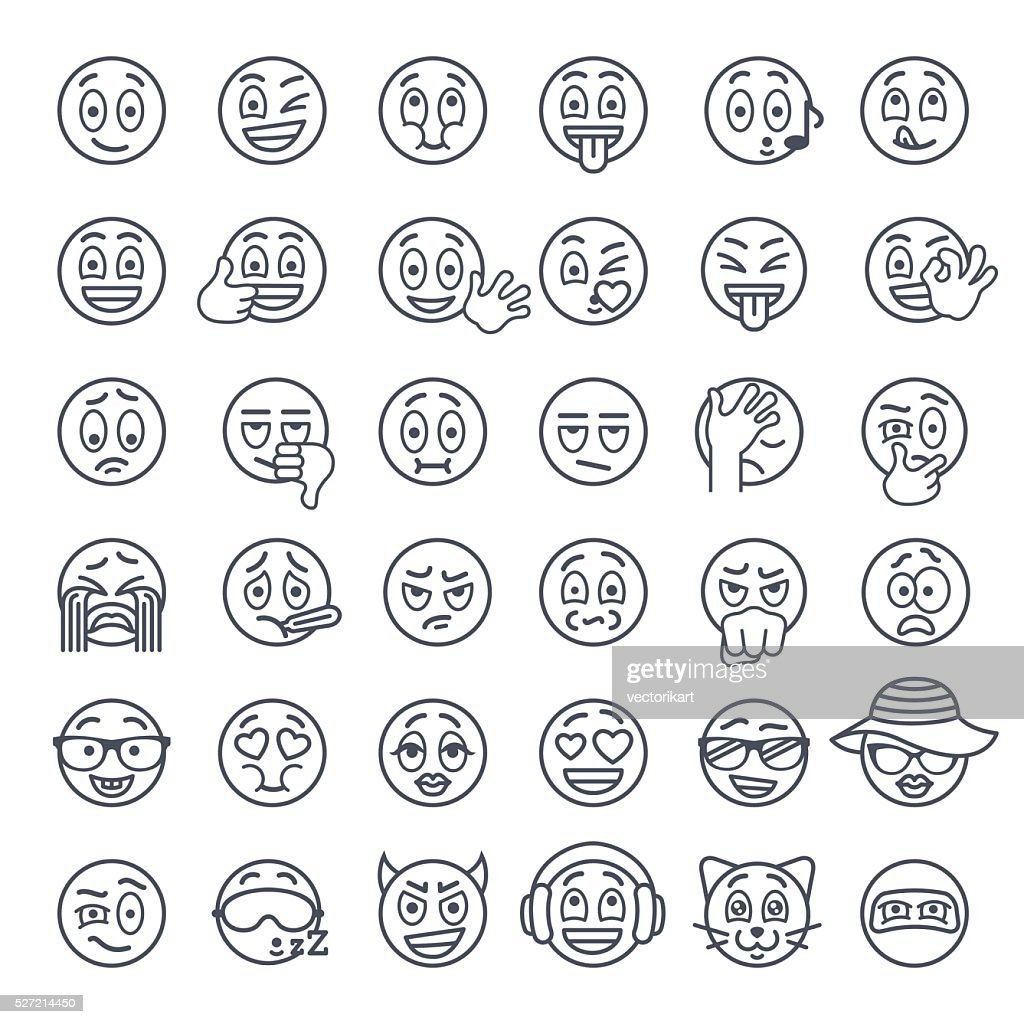 Smiley face emoji thin lines flat vector icons set