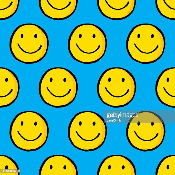 smiley face hand drawn pattern - smiley faces stock illustrations