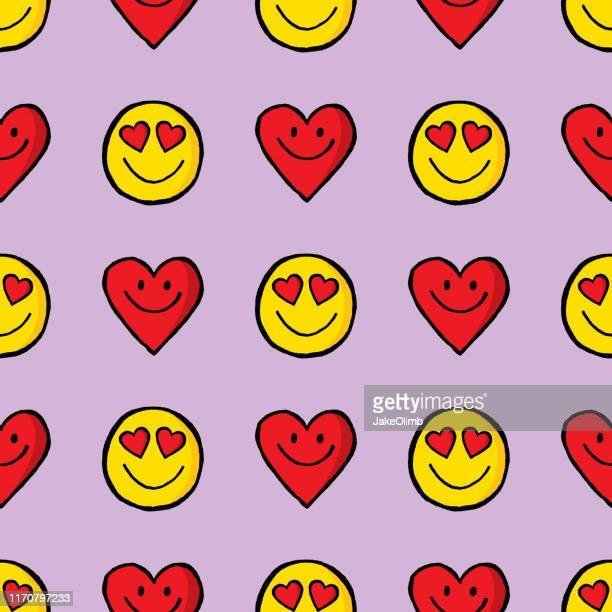 smiley face hearts and heart hand drawn pattern - friendship stock illustrations