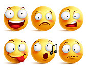 Smiley face icons or emoticons with set of facial expressions