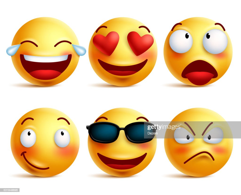 Smiley face icons or yellow emoticons with emotional funny faces