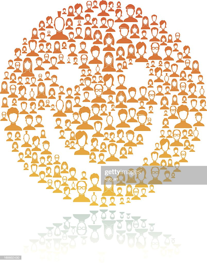 Smiley face made of network users