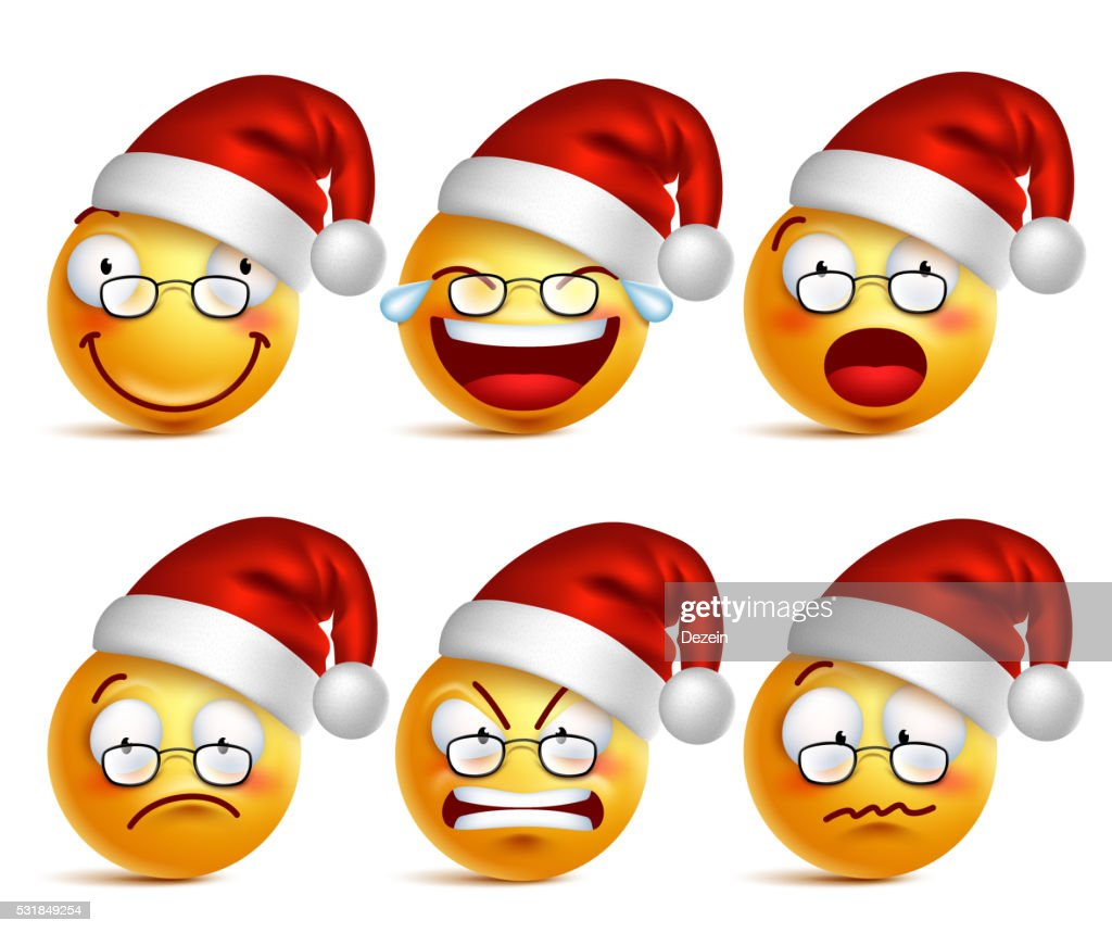 Smiley face of santa claus with  facial expressions for christmas