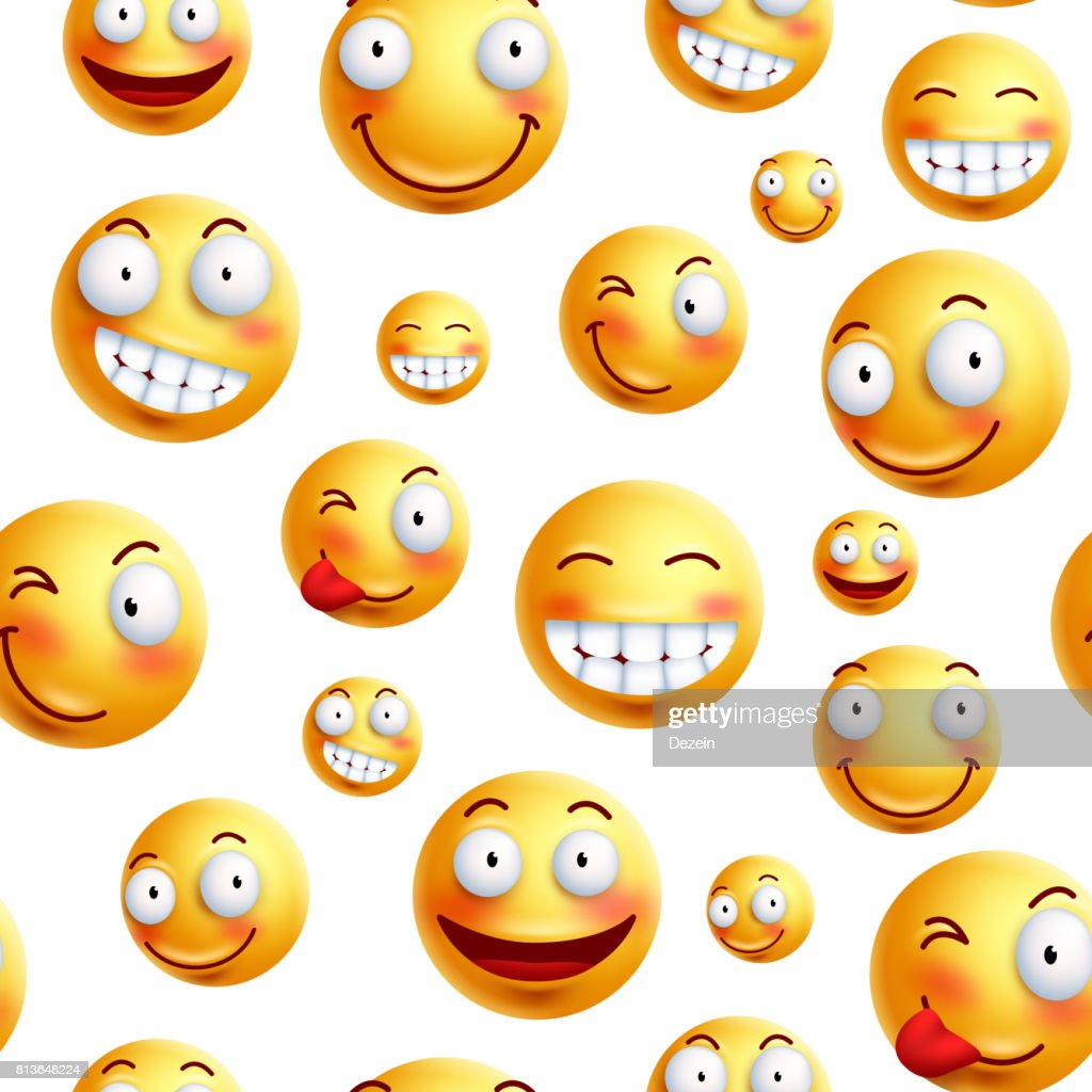 Smiley face pattern vector background. Continuous, endless or seamless