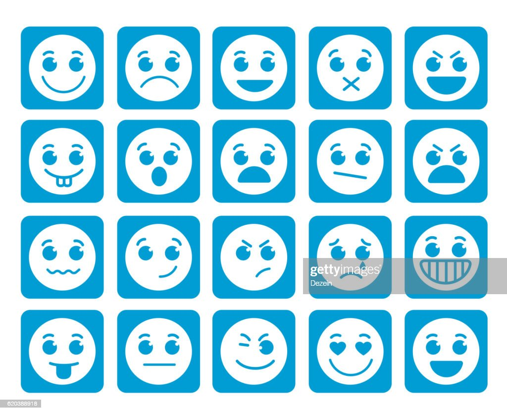 Smiley face vector icons in square flat blue buttons