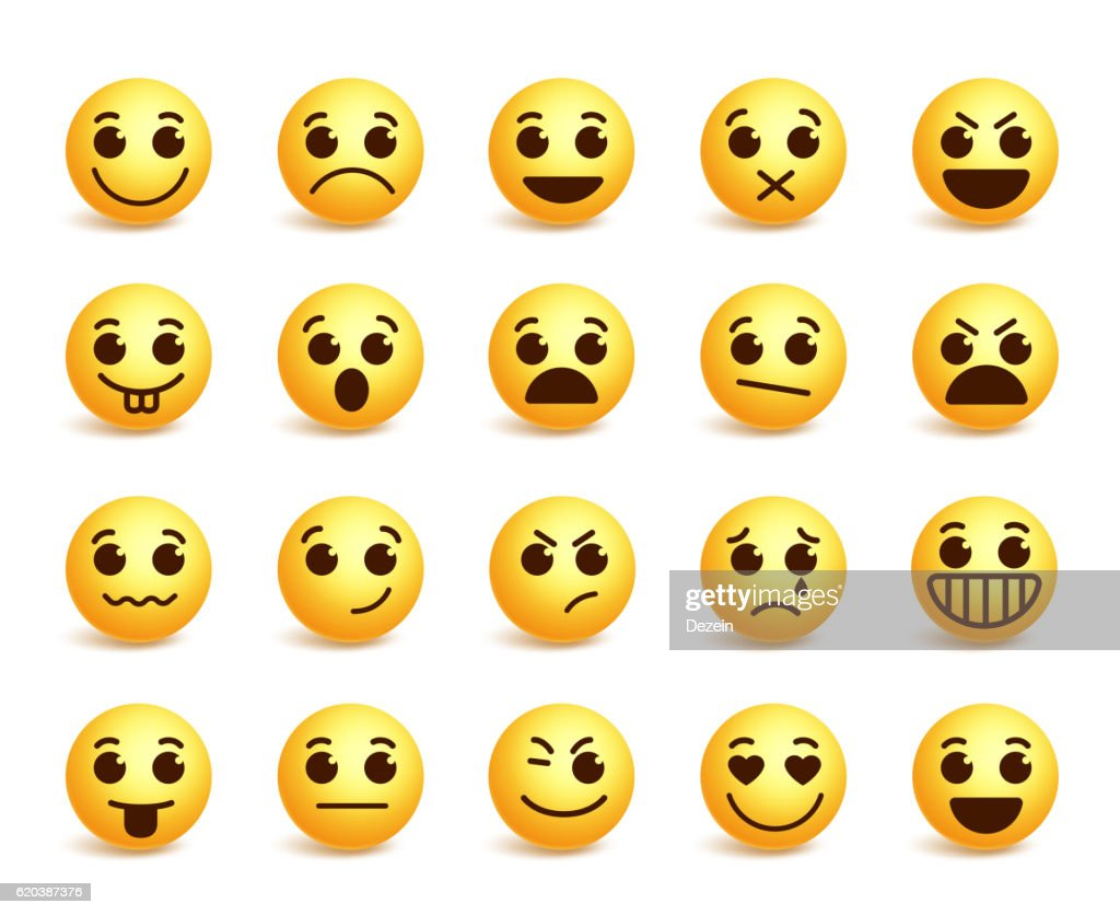 Smiley face vector icons set with funny facial expressions