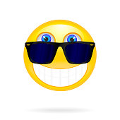 Smiley face with sunglasses. Solar vector illustration. Cool glo