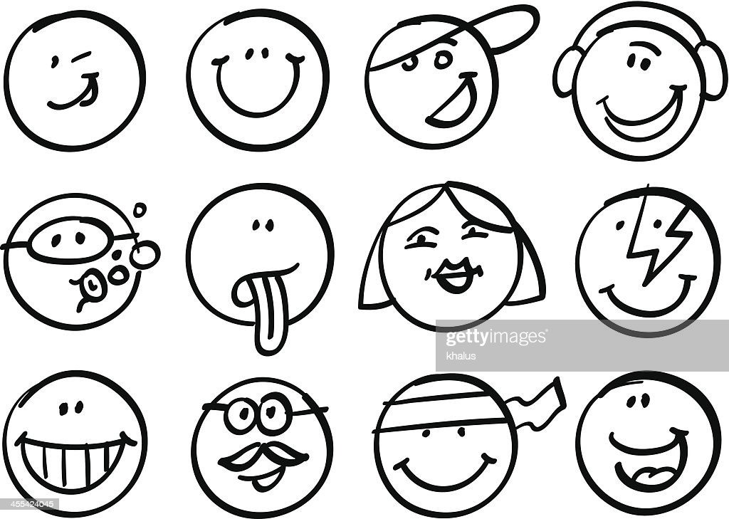 Smiley faces collection : stock vector
