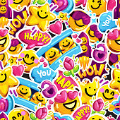 smiley faces sticker love seamless pattern.