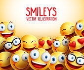 Smiley faces vector background with different facial expressions