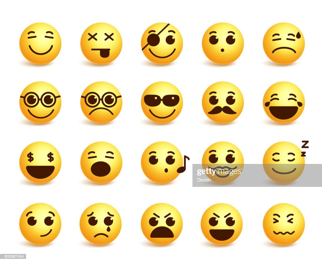 Smiley faces vector emoticons set with funny facial expressions