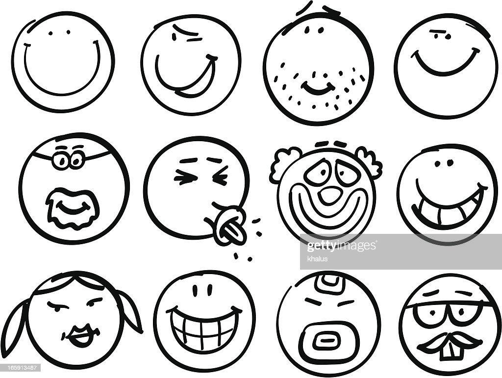 Smiley head collection : stock vector