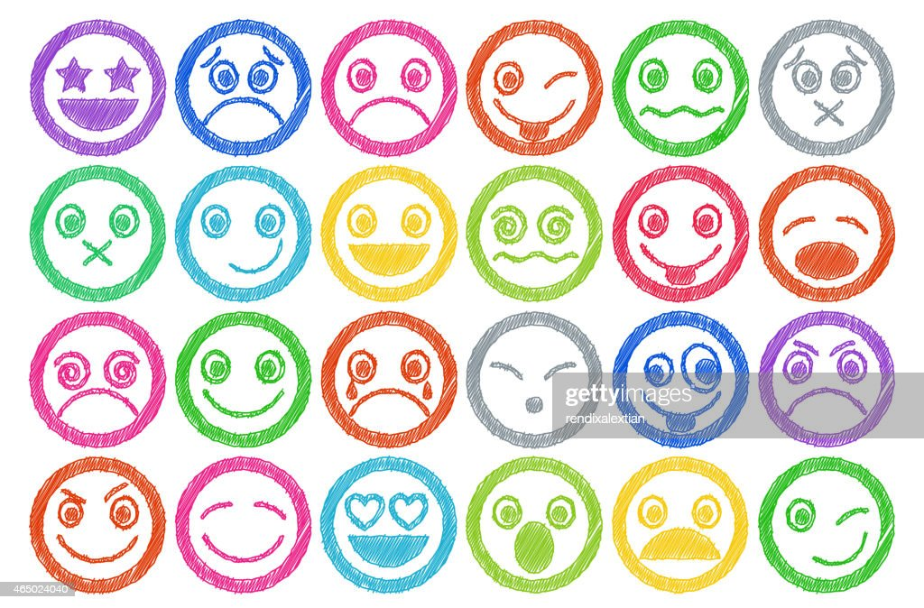 Smiley Icons colored Pen shading effect set