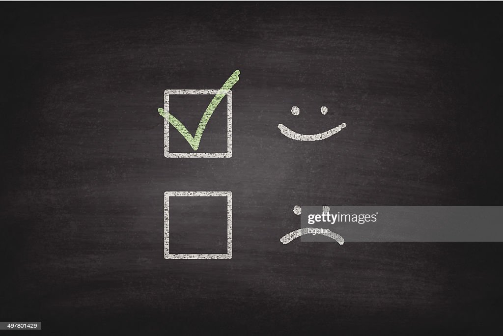 Smiley or Sad Checkboxes on Blackboard - Chalkboard : stock vector