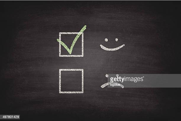 Smiley or Sad Checkboxes on Blackboard - Chalkboard