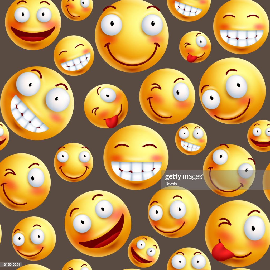 Smiley pattern vector background with continuous or seamless happy